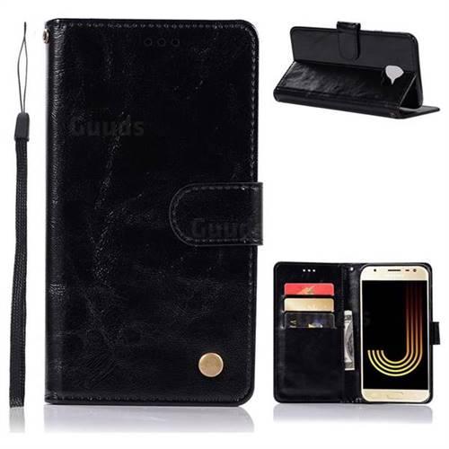 Luxury Retro Leather Wallet Case for Samsung Galaxy J4 (2018) SM-J400F - Black