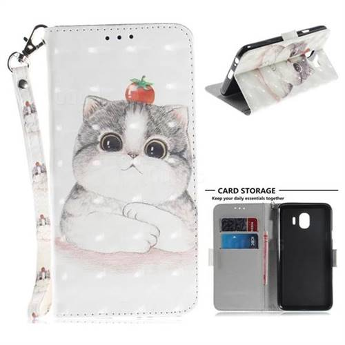 Cute Tomato Cat 3D Painted Leather Wallet Phone Case for Samsung Galaxy J4 (2018) SM-J400F