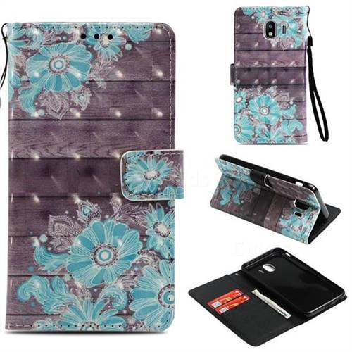 Blue Flower 3D Painted Leather Wallet Case for Samsung Galaxy J4 (2018) SM-J400F