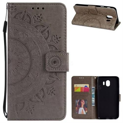 Intricate Embossing Datura Leather Wallet Case for Samsung Galaxy J4 (2018) SM-J400F - Gray