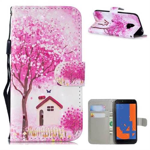 Tree House 3D Painted Leather Wallet Phone Case for Samsung Galaxy J4 (2018) SM-J400F