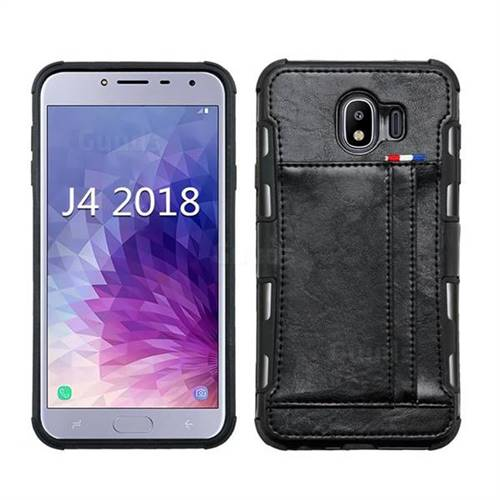 Luxury Shatter-resistant Leather Coated Card Phone Case for Samsung Galaxy J4 (2018) SM-J400F - Black