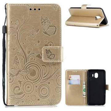 Intricate Embossing Butterfly Circle Leather Wallet Case for Samsung Galaxy J4 (2018) SM-J400F - Champagne