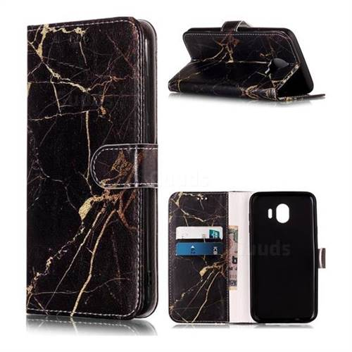 Black Gold Marble PU Leather Wallet Case for Samsung Galaxy J4 (2018) SM-J400F