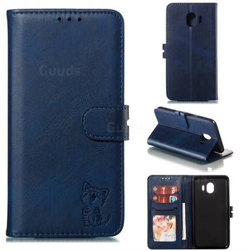 Embossing Happy Cat Leather Wallet Case for Samsung Galaxy J4 (2018) SM-J400F - Blue