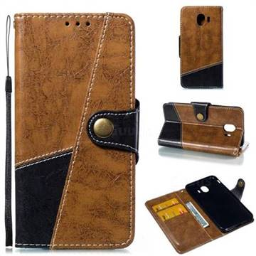 Retro Magnetic Stitching Wallet Flip Cover for Samsung Galaxy J4 (2018) SM-J400F - Brown