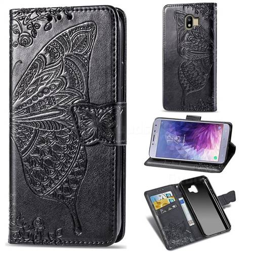 Embossing Mandala Flower Butterfly Leather Wallet Case for Samsung Galaxy J4 (2018) SM-J400F - Black