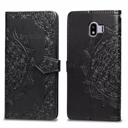 Embossing Imprint Mandala Flower Leather Wallet Case for Samsung Galaxy J4 (2018) SM-J400F - Black