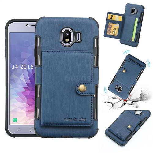 Brush Multi-function Leather Phone Case for Samsung Galaxy J4 (2018) SM-J400F - Blue