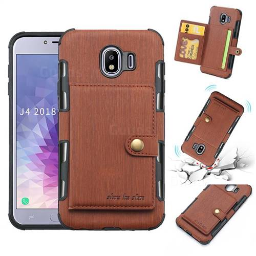 Brush Multi-function Leather Phone Case for Samsung Galaxy J4 (2018) SM-J400F - Brown