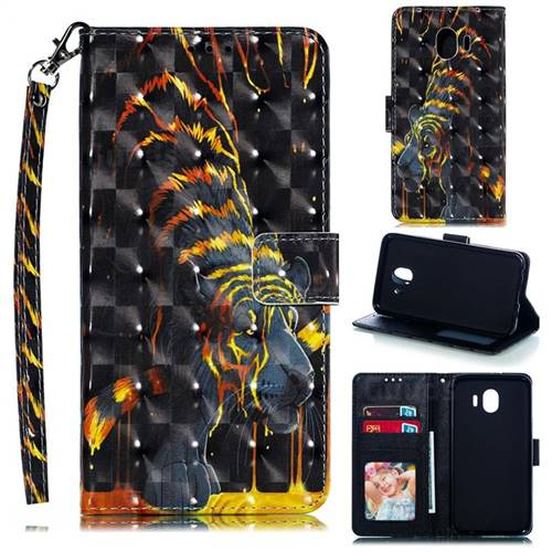 Tiger Totem 3D Painted Leather Phone Wallet Case for Samsung Galaxy J4 (2018) SM-J400F