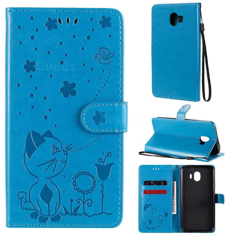 Embossing Bee and Cat Leather Wallet Case for Samsung Galaxy J4 (2018) SM-J400F - Blue