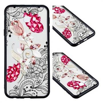Tulip Lace Diamond Flower Soft TPU Back Cover for Samsung Galaxy J4 Plus(6.0 inch)