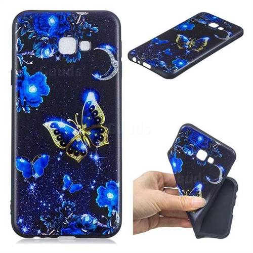 Phnom Penh Butterfly 3D Embossed Relief Black TPU Cell Phone Back Cover for Samsung Galaxy J4 Plus(6.0 inch)