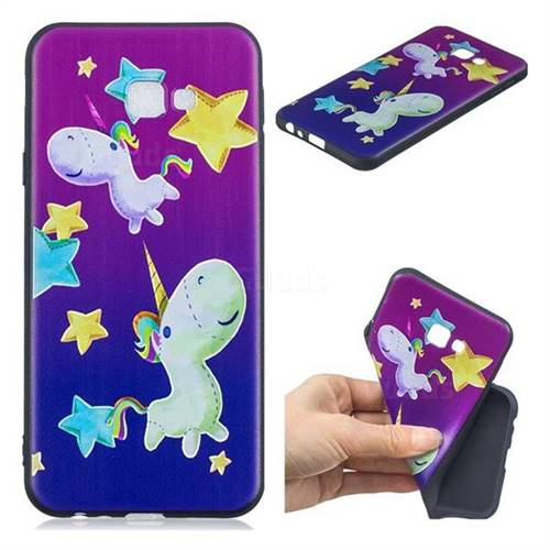 Pony 3D Embossed Relief Black TPU Cell Phone Back Cover for Samsung Galaxy J4 Plus(6.0 inch)