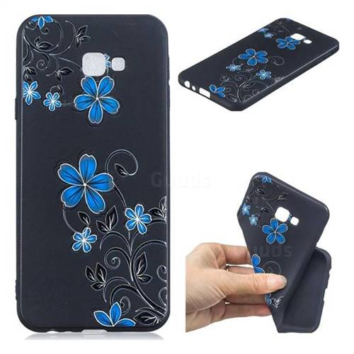 Little Blue Flowers 3D Embossed Relief Black TPU Cell Phone Back Cover for Samsung Galaxy J4 Plus(6.0 inch)
