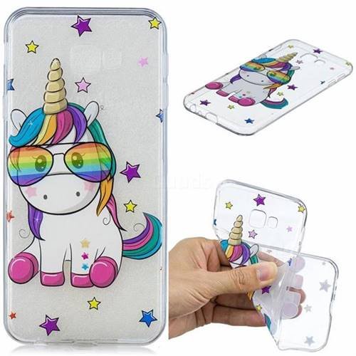 Glasses Unicorn Clear Varnish Soft Phone Back Cover for Samsung Galaxy J4 Plus(6.0 inch)