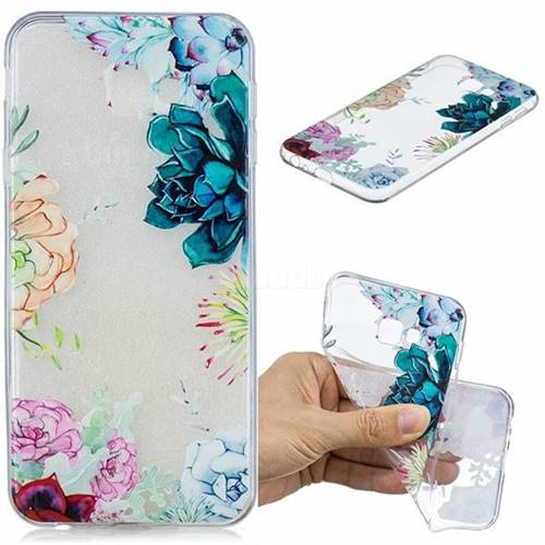 Gem Flower Clear Varnish Soft Phone Back Cover for Samsung Galaxy J4 Plus(6.0 inch)