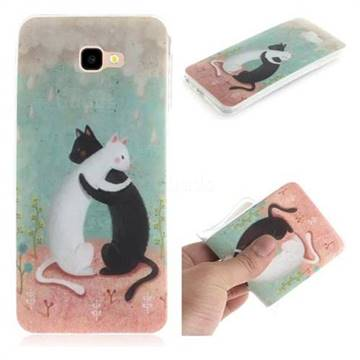 Black and White Cat IMD Soft TPU Cell Phone Back Cover for Samsung Galaxy J4 Plus(6.0 inch)
