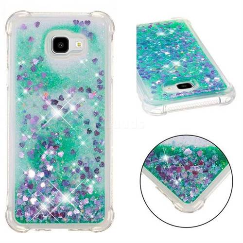 Dynamic Liquid Glitter Sand Quicksand TPU Case for Samsung Galaxy J4 Plus(6.0 inch) - Green Love Heart