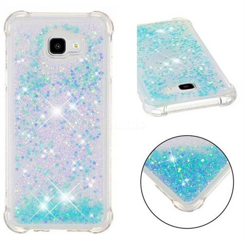 Dynamic Liquid Glitter Sand Quicksand TPU Case for Samsung Galaxy J4 Plus(6.0 inch) - Silver Blue Star