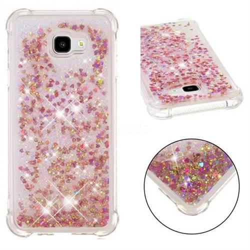 Dynamic Liquid Glitter Sand Quicksand TPU Case for Samsung Galaxy J4 Plus(6.0 inch) - Rose Gold Love Heart