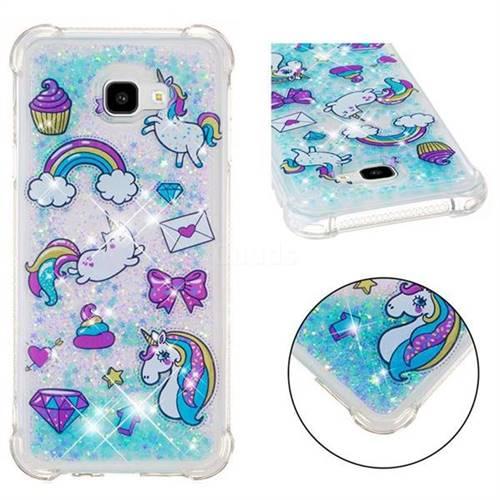 Fashion Unicorn Dynamic Liquid Glitter Sand Quicksand Star TPU Case for Samsung Galaxy J4 Plus(6.0 inch)