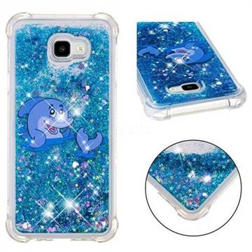 Happy Dolphin Dynamic Liquid Glitter Sand Quicksand Star TPU Case for Samsung Galaxy J4 Plus(6.0 inch)