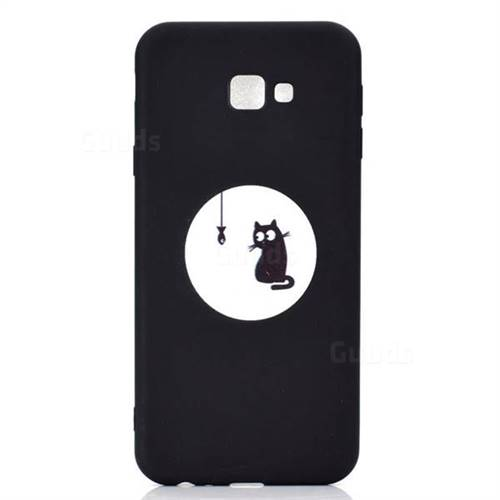 512c0b786e Fish Fishing Cat Chalk Drawing Matte Black TPU Phone Cover for Samsung  Galaxy J4 Plus(