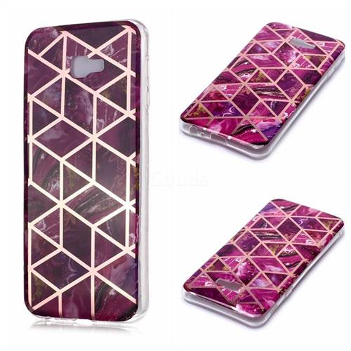 Purple Rhombus Galvanized Rose Gold Marble Phone Back Cover for Samsung Galaxy J4 Plus(6.0 inch)