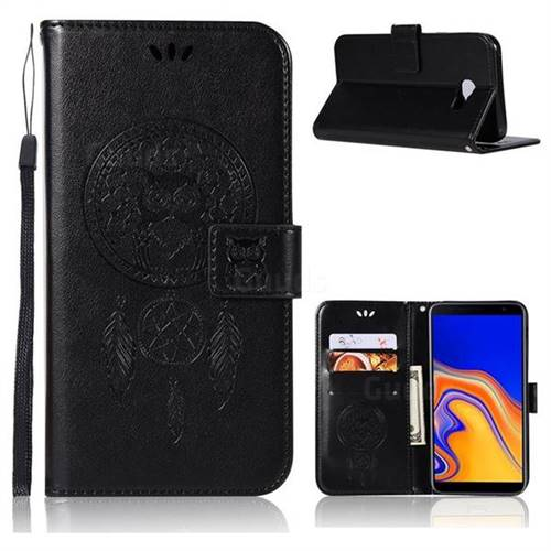 Intricate Embossing Owl Campanula Leather Wallet Case for Samsung Galaxy J4 Plus(6.0 inch) - Black