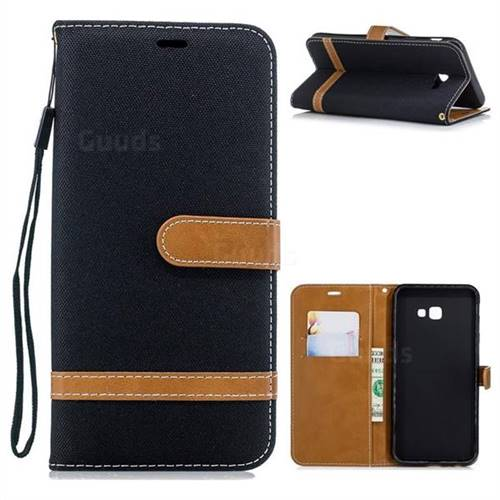 Jeans Cowboy Denim Leather Wallet Case for Samsung Galaxy J4 Plus(6.0 inch) - Black