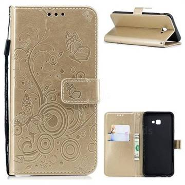 Intricate Embossing Butterfly Circle Leather Wallet Case for Samsung Galaxy J4 Plus(6.0 inch) - Champagne