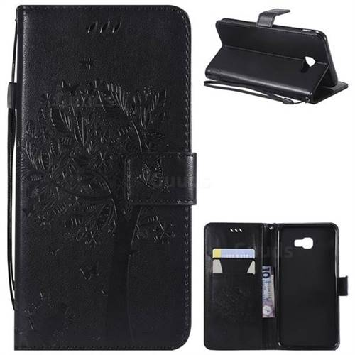 Embossing Butterfly Tree Leather Wallet Case for Samsung Galaxy J4 Plus(6.0 inch) - Black