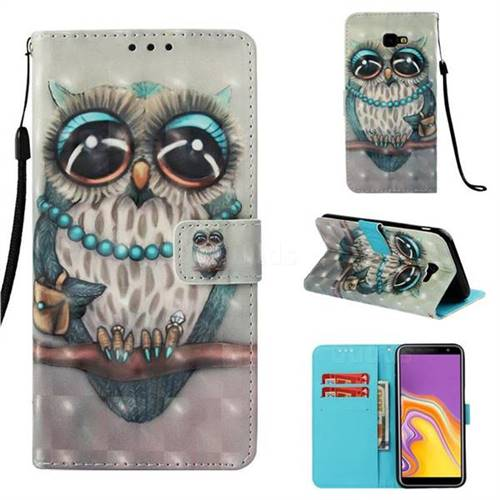 Sweet Gray Owl 3D Painted Leather Wallet Case for Samsung Galaxy J4 Plus(6.0 inch)
