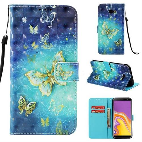 Gold Butterfly 3D Painted Leather Wallet Case for Samsung Galaxy J4 Plus(6.0 inch)