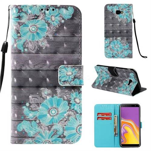 Blue Flower 3D Painted Leather Wallet Case for Samsung Galaxy J4 Plus(6.0 inch)