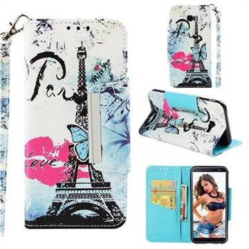 Lip Tower Big Metal Buckle PU Leather Wallet Phone Case for Samsung Galaxy J4 Plus(6.0 inch)