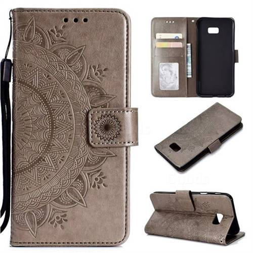 Intricate Embossing Datura Leather Wallet Case for Samsung Galaxy J4 Plus(6.0 inch) - Gray