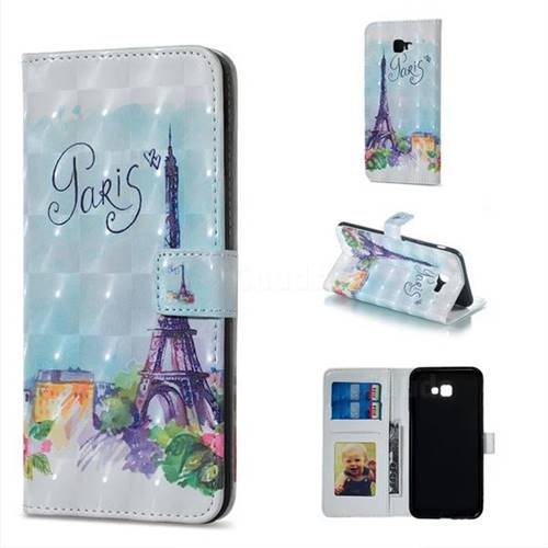 Paris Tower 3D Painted Leather Phone Wallet Case for Samsung Galaxy J4 Plus(6.0 inch)