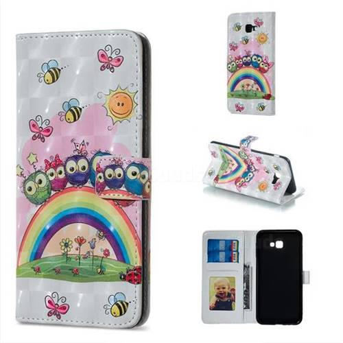 Rainbow Owl Family 3D Painted Leather Phone Wallet Case for Samsung Galaxy J4 Plus(6.0 inch)