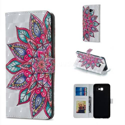 Mandara Flower 3D Painted Leather Phone Wallet Case for Samsung Galaxy J4 Plus(6.0 inch)