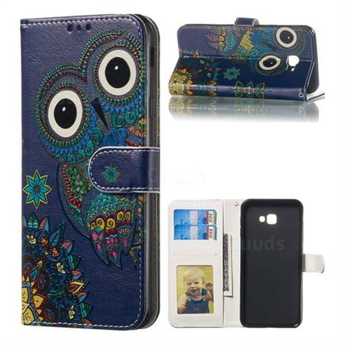Folk Owl 3D Relief Oil PU Leather Wallet Case for Samsung Galaxy J4 Plus(6.0 inch)