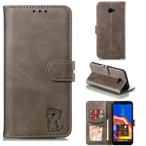 Embossing Happy Cat Leather Wallet Case for Samsung Galaxy J4 Plus(6.0 inch) - Gray