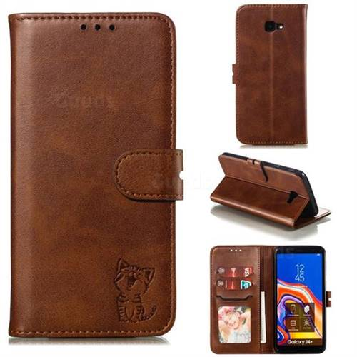 Embossing Happy Cat Leather Wallet Case for Samsung Galaxy J4 Plus(6.0 inch) - Brown