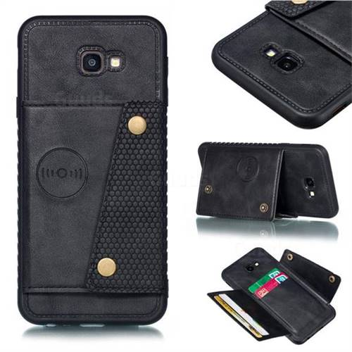 Retro Multifunction Card Slots Stand Leather Coated Phone Back Cover for Samsung Galaxy J4 Plus(6.0 inch) - Black