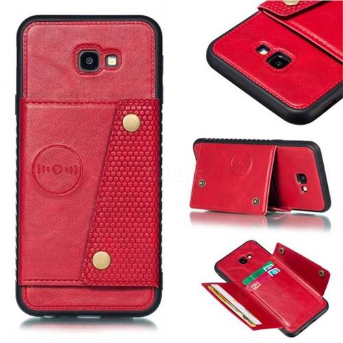 Retro Multifunction Card Slots Stand Leather Coated Phone Back Cover for Samsung Galaxy J4 Plus(6.0 inch) - Red