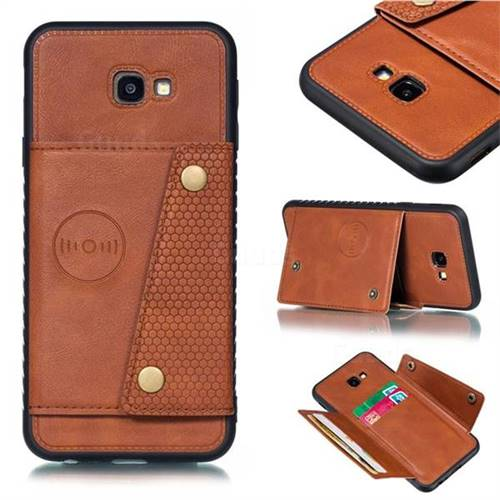 Retro Multifunction Card Slots Stand Leather Coated Phone Back Cover for Samsung Galaxy J4 Plus(6.0 inch) - Brown