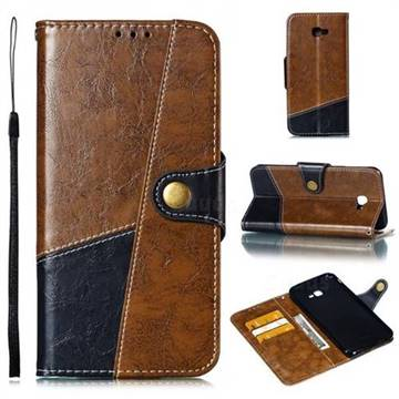 Retro Magnetic Stitching Wallet Flip Cover for Samsung Galaxy J4 Plus(6.0 inch) - Brown