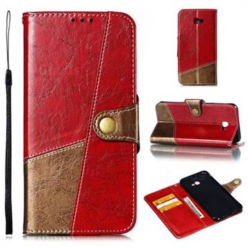 Retro Magnetic Stitching Wallet Flip Cover for Samsung Galaxy J4 Plus(6.0 inch) - Rose Red